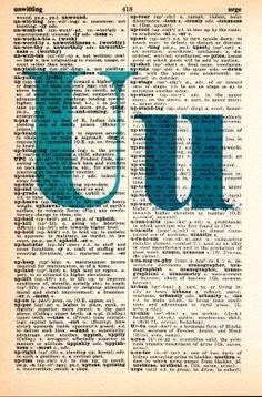 Repurposed Dictionary Art...U by SimpleeSaid on Etsy, $4.50