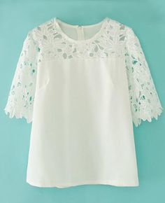 Shop the affordable White Round Neck Half Sleeve Hollow Lace Chiffon Blouse from Tops collection that inspired by most covetable trends. Save your budget by purchasing your White Round Neck Half Sleeve Hollow Lace Chiffon Blouse here! Cotton Anarkali, Cute Tops, Half Sleeves, Diy Clothes, Blouse Designs, Shirt Blouses, Casual Dresses, Tunic Tops, Lace Chiffon