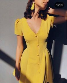Solid color V-neck short-sleeve single-row button high-waist dress - Cute Outfits Casual Dresses, Casual Outfits, Short Sleeve Dresses, Summer Dresses, Yellow Dress Outfits, Dresses Dresses, Winter Dresses, A Line Dresses, Dresses For Women