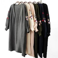 2017 Women Christmas knitting gray sweater women Autumn winter loose embroidery lantern sleeves Cardigan sweaters jumper. Click visit to buy #WomenCardigan