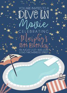 Dive in Movie Birthday Invitation  Pool Movie Celebration Cute Tween Birthday Invitation