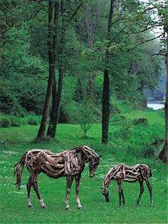 Driftwood horse sculptures by Deborah Butterfield