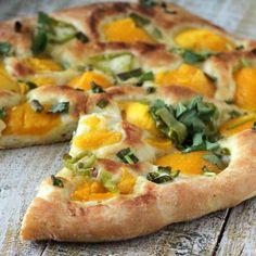 Mango and Hatch Chile Pizza with a White Garlic Pizza Crust. Vegan Recipe - Vegan Richa