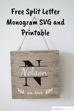 Free template for making a personalized last name family established sign Monogram Stencil, Monogram Template, Letter Monogram, Free Monogram, Sign Templates, Templates Printable Free, Monogram Maker, Diy Home Crafts, Easy Home Decor
