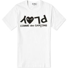 Comme des Garcons Play Women's Inverted Text Logo Tee (380 RON) ❤ liked on Polyvore featuring tops, t-shirts, cotton tee, logo t shirts, logo tee, white graphic t shirts and graphic tops