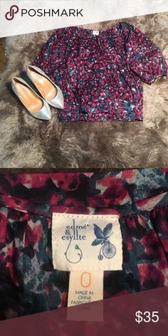 Edme & esyllte anthropologie peasant top Size 0 Preloved but like new condition. 100% cotton. Comes from pet free and smoke free home. Anthropologie Tops