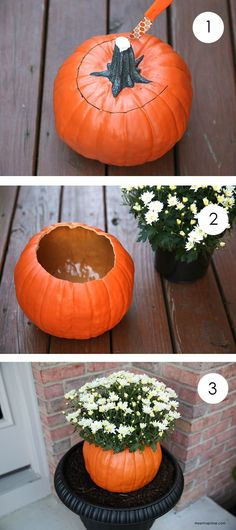 DIY faux pumpkin flower pot. Display flowers in pumpkins to add a fall feel to your outdoor space.