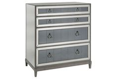 "Evelyn 32"" Two-Tone Mirrored Chest, Gray"
