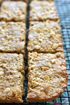 Peanut Butter Oatmeal Bars ~ loaded with wholesome oatmeal and whole wheat flour, flavored with peanut butter, and sweetened with honey, these soft-baked oatmeal bars make a yummy, on-the-go breakfast or snack! | FiveHeartHome.com