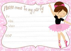Printable free DIY ballerina party invitations