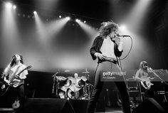 English rock band Uriah Heep performs live on stage in London in February 1980. Left to right: Guitarist Mick Box, drummer Chris Slade, singer John Sloman and bassist Trevor Bolder.