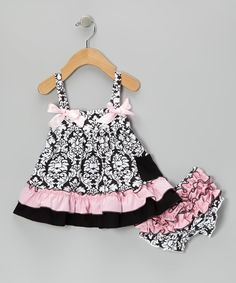 Look at this #zulilyfind! Pink & Black Damask Swing Top & Diaper Cover - Infant by Royal Gem #zulilyfinds