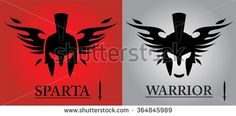 Black Warrior Head. front view of winged warrior head combine with text and sword icon. isolated sparta helmet. Suitable for team identity, mascot, community icon, product identity, etc.