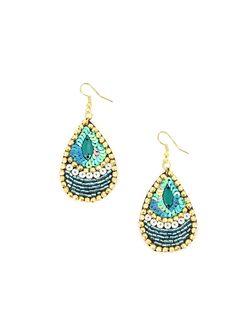 Shandrapur - Boucles d'oreilles paon en perles turquoise http://www.diwali-paris.com/bijoux-boucles-d-oreilles-bleu-perles-ethnique-1789.html