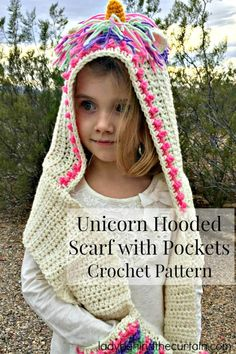 Unicorn Hooded Scarf with Pockets Crochet Pattern - Crochet Unicorn Pattern- 32 Free Crochet Patterns - DIY & Crafts