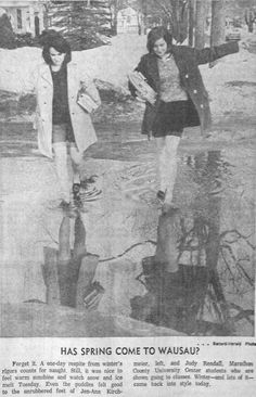 Feb. 12, 1967 - University of Wisconsin - Marathon County (Marathon County University) students splash through a puddle on a warm winter day in 1967.
