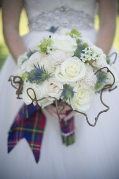 For all the brides who want a willow accent! Beautiful roses, star of bethlehem, erygium, with willow! And PLAID!
