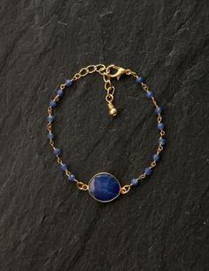 Sapphire bezel and wire wrapped beads bracelet by rosehipjewelry, $60.00