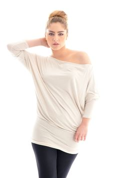 Plus size top/  Cotton plus size tunic top/ Beige tunic by onor, $45.00