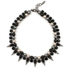Vicious Love Crystal, Pearl, Pyramid Necklace Platinum/ Jet/ Ruthenium ($316) ❤ liked on Polyvore