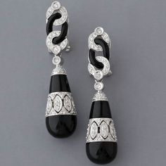 art deco oxyx earrings | ... Fay Cullen Archives - - EARRINGS - Art Deco Onyx and Diamond Earrings