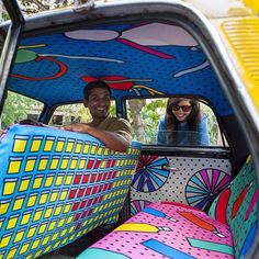 A taxi ride we surely would enjoy! #mumbai #taxifabric #design #taxidriver #zutano #color #inspiration