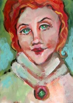 Red Head ACEO Original Painting Female OOAK Mini Collectable Portrait Figurative