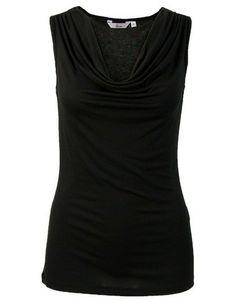 Zwarte basis mouwloze top met een watervalhals. De schouders zijn voorzien van een sierlijke rimpeling. Het is een getailleerd model, gemaakt van soepele stof.  #zomercollectie #zomerkledingdames #zomerkleding