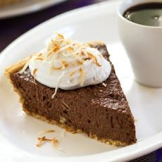 Jamocha Silk Pie - Ingredients: silken tofu, cocoa, almond milk, vanilla, brewed coffee, shredded coconut, chocolate chips, agave nectar, toasted pecans and honey.