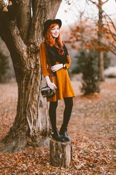 I love everything about this mustard sweater dress!