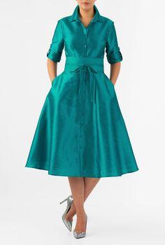 Buy Women's Dresses at eShakti. Shop our wide online selection of day-to-evening dresses, casual dresses, plus size dresses, petite dresses and dresses for all shapes and sizes Mob Dresses, Dressy Dresses, Dresses Online, Nice Dresses, Dress Outfits, Cotton Shirt Dress, Poplin Dress, Dress Logo, 1920s Fashion Women