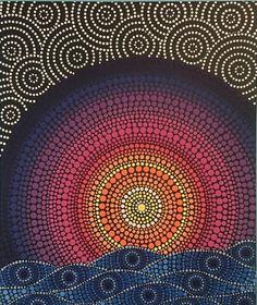 Cuadros paint dot art painting, mandala painting и mandala a Dot Art Painting, Rock Painting Designs, Stone Painting, Mandala Canvas, Mandala Dots, Mandalas Painting, Sun Art, Aboriginal Art, Zentangle