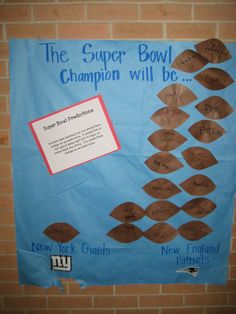 Super Bowl Graph - Predictions Classroom Crafts, Classroom Ideas, Too Cool For School, School Stuff, Making Predictions, New Patriots, Football Themes, Stem Science, Class Decoration