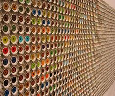 Eung-Ho Park is one of those artists whose work implants itself into your subconsciousness and quietly remains there. Years later, quite su. Bottle Cap Art, Bottle Cap Crafts, Mirror Jewellery Cabinet, Wall Cladding, Cladding Ideas, Brew Pub, Cool Inventions, Hospitality Design, Mosaic Art