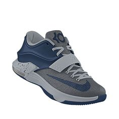 """Nike KD 7 id """"Stealth"""" *Rock the grey tank, navy blue basketball shorts with the light gray fitted cap."""
