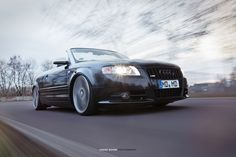low stance Audi A4 S-Line Cabrio rollin shot by RigShot Shooting