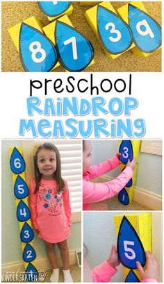 Practice measuring using large blocks and raindrops. Perfect for a weather theme in tot school, preschool, or even kindergarten! Weather Activities for Kids Weather Activities Preschool, April Preschool, Preschool Lesson Plans, Preschool Curriculum, Preschool Themes, Preschool Science, Spring Activities, Toddler Activities, Preschool Activities