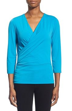 Ellen Tracy Faux Wrap Top (Regular & Petite) available at #Nordstrom