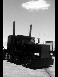 Blacked out Peterbilt Big Rig Trucks, Toy Trucks, Semi Trucks, Peterbilt 389, Peterbilt Trucks, Heavy Construction Equipment, Heavy Equipment, Custom Big Rigs, Custom Trucks