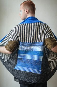 This modular garment begins with striped short row wedges followed by a garter stitch rectangle. Stitches are picked up to knit the back square. Two rectangles form the the sides and tapered short sleeves are worked in the round with an I-cord bind off. Two large short row borders finish the top and bottom of the garment. Flip the garment upside down, fold the collar, and button the front for a variety of looks.