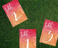 Watercolor Table Number // 5x7 Printed Card // Wedding Decor, Whimsical Wedding, Ombre Watercolor, Calligraphy Table Number