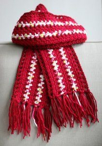 Crocheted Striped Scarf with Railroad Border | AllFreeCrochet.com