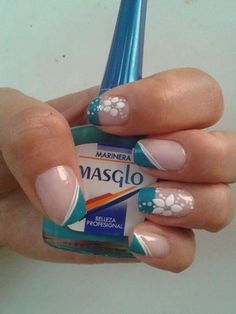 Teal and white, slant French mani with accent flowers. Metallic Nails, Acrylic Nails, Colorful Nail Designs, Nail Art Designs, Nail Manicure, Diy Nails, French Tip Nails, Cute Nail Art, Flower Nails