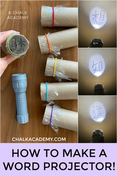 DIY Cardboard Roll Projector Word Shadow Show! Eco-friendly way to learn Chinese characters with a DIY cardboard roll projector! This activity is easy to prepare with materials you have at home! Cardboard Rolls, Diy Cardboard, Toddler Learning Activities, Preschool Activities, Spanish Activities, Summer Activities, Educational Games For Kids, Fun Learning, Carton Diy