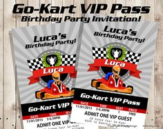 Go-Kart VIP Pass Birthday party invitation - VIP Pass Invitation - Printable digital file