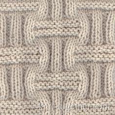 Wicker Stitch Pattern 1, knitting pattern chart, Squares, Diamonds, Basket Stitch Patterns