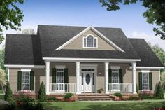 Country , Farmhouse , Traditional House Plan 59976 with 3 Beds, 2 Baths, 2 Car Garage Elevation Farmhouse Plans, Country Farmhouse, Modern Farmhouse, Farmhouse Front, French Country, French Cottage, Farmhouse Design, Style At Home, Country Style House Plans
