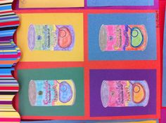 Warhol art- students draw can , photocopied & shrunk 4 times- color exploration