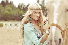this so reminds me of my mom when she was younger with her long, blonde, hippie hair and her palomino she had <3