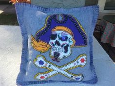 Aye! Pirate Sugar Skull Pillow